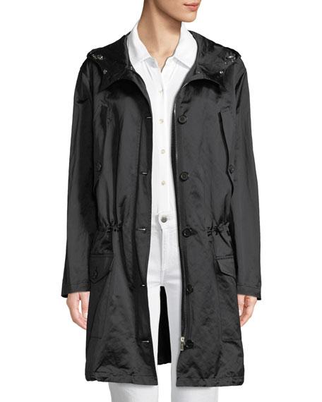 Button-Front Anorak Jacket W/Fur Hood