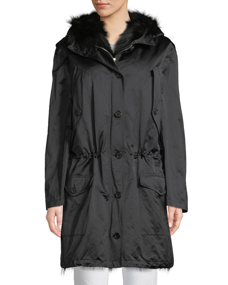 Michael Kors Button-Front Anorak Jacket W/Fur Hood