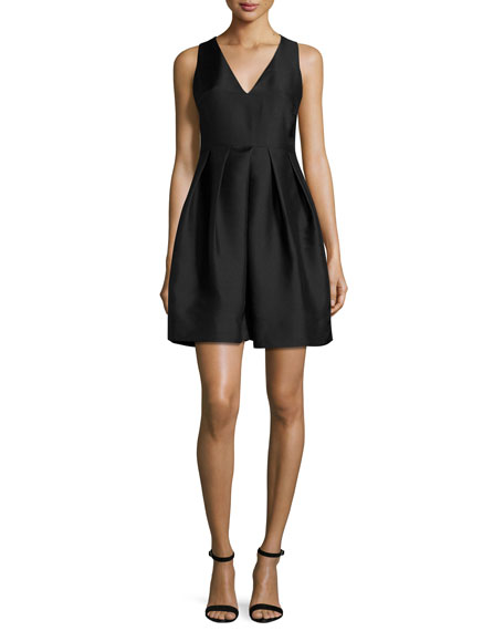 Sleeveless Structured Satin Cocktail Dress, Black