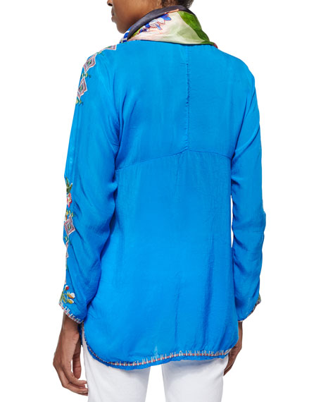 Johnny Was Plus Size Vanessa Georgette Embroidered Tunic