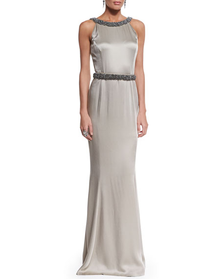 St. John Collection Beaded Liquid Crepe Gown, Medium Silver