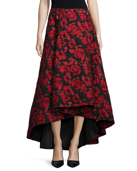 Alice + Olivia Floral Brocade Tea-Length Skirt