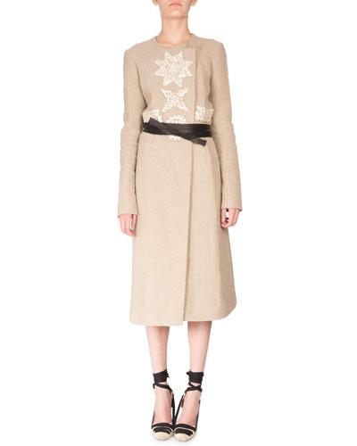 Islington Embellished Belted Coat, Burlap