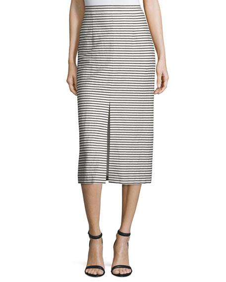 Alice + Olivia Sabrena Striped Midi Skirt, Black/White