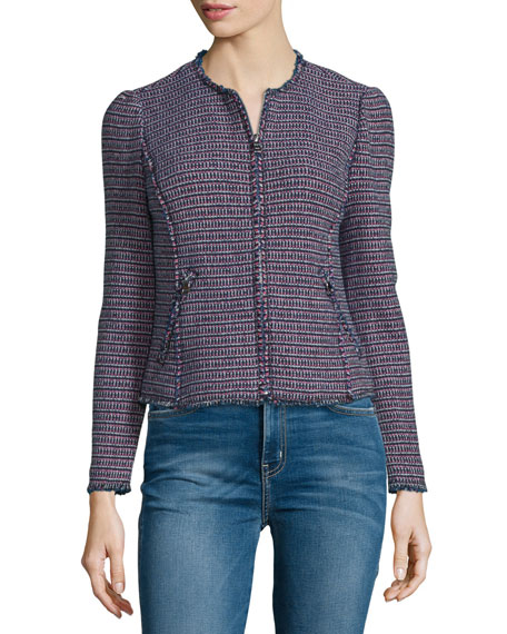 Fitted Zip-Front Tweed Jacket, Navy