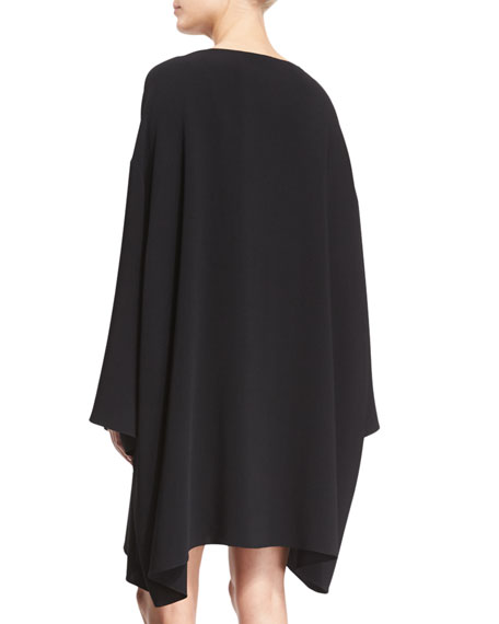 Long-Sleeve Mini Caftan Dress, Black