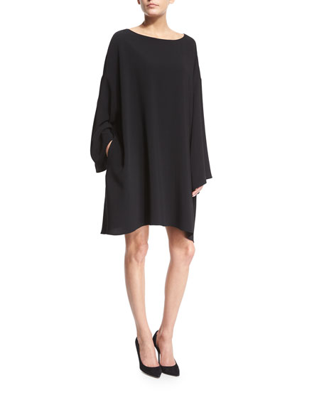 THE ROW Long-Sleeve Mini Caftan Dress, Black