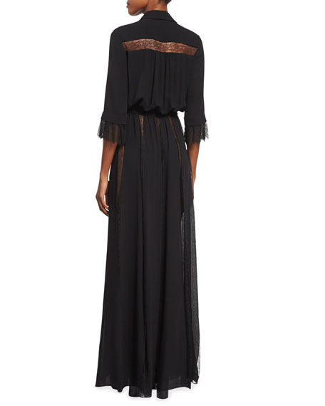 Lace-Inset Button-Front Gown, Black
