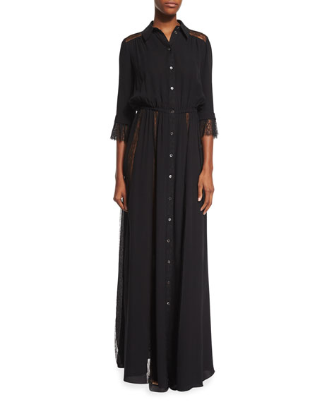 Michael Kors Collection Lace-Inset Button-Front Gown, Black