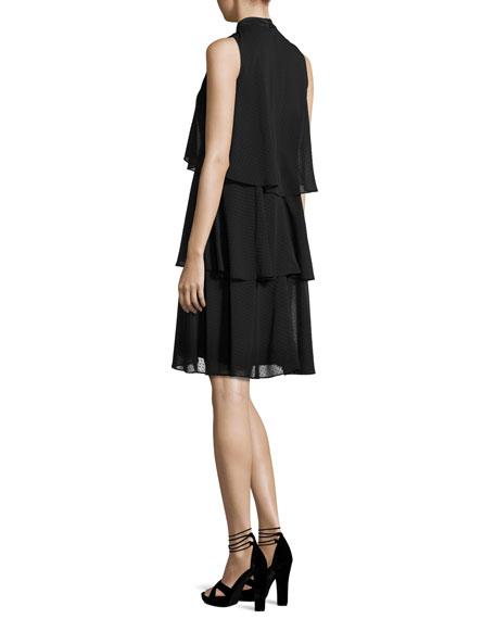 Sleeveless Tiered Chiffon Cocktail Dress, Black