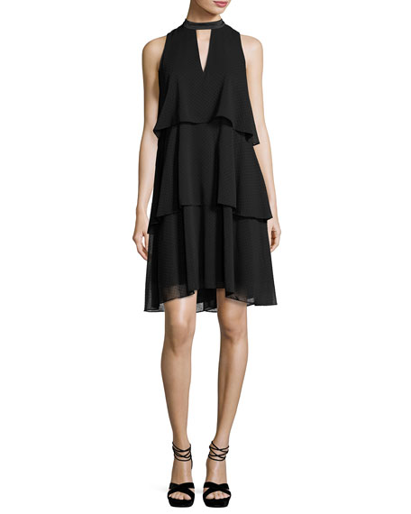 Erin Fetherston Sleeveless Tiered Chiffon Cocktail Dress, Black