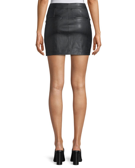 Image 2 of 3: Helmut Lang Straight Leather Mini Skirt