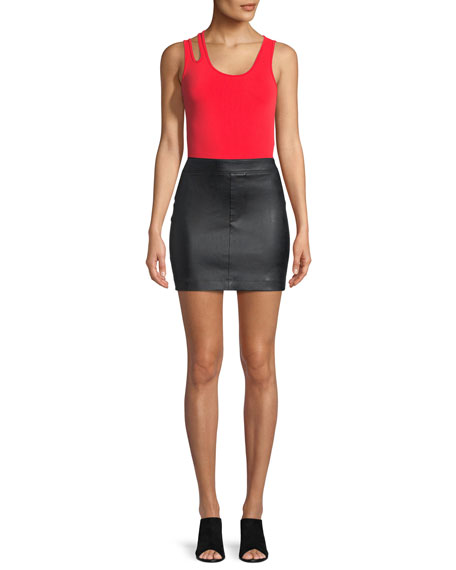 Image 3 of 3: Helmut Lang Straight Leather Mini Skirt