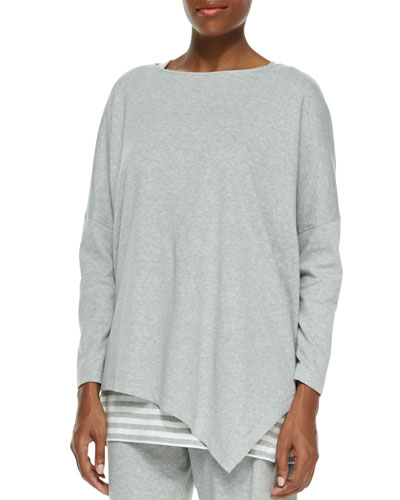 Oversized Asymmetric Cotton Top, Plus Size