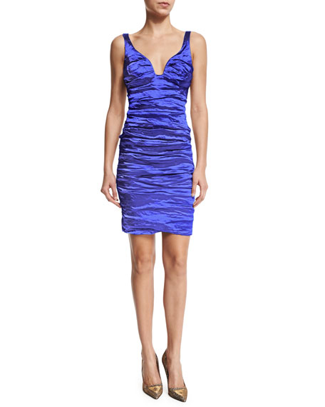 Sleeveless V-Neck Cocktail Dress, Electric
