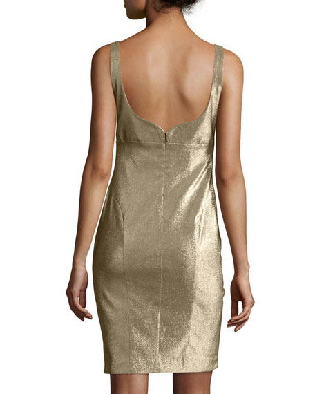 Metallic V-Neck Sleeveless Cocktail Dress, Gold