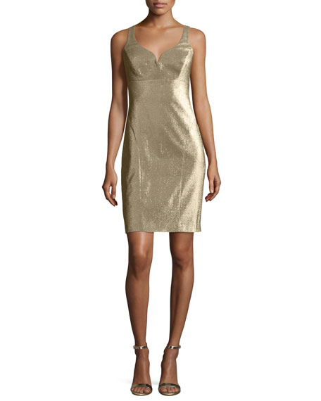 Nicole Miller Metallic V-Neck Sleeveless Cocktail Dress, Gold