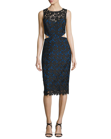 Nicole miller venice sleeveless solid lace cutout dress