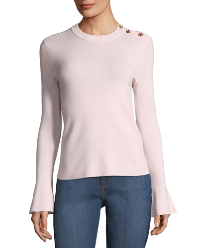 Kimberly Bell-Sleeve Merino Sweater w/ Buttons