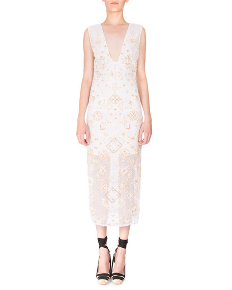 Altuzarra Sleeveless Eyelet-Beaded V-Neck Dress, Optic White