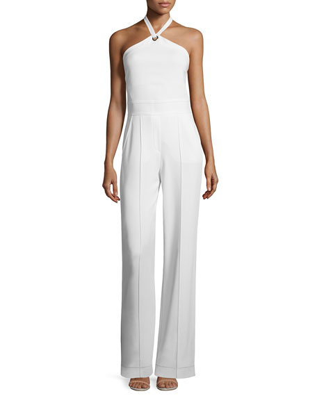 A.L.C. Corinna Crepe Halter Jumpsuit, White