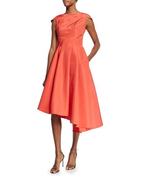 Rubin Singer Cap-Sleeve Silk Faille Asymmetric Dress