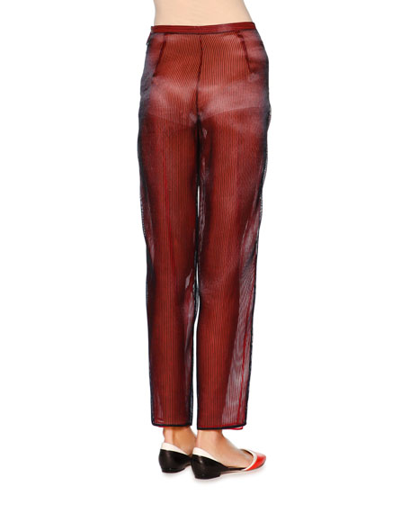 Slim-Leg Ankle Pants, Navy/Red