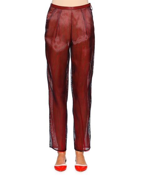 Giorgio Armani Slim-Leg Ankle Pants, Navy/Red