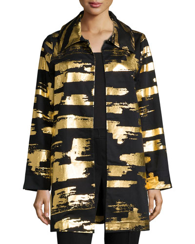 Golden Glow Long Drama Jacket, Plus Size