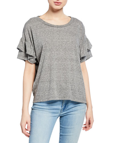 The Ruffle Roadie Tee  Heather Gray