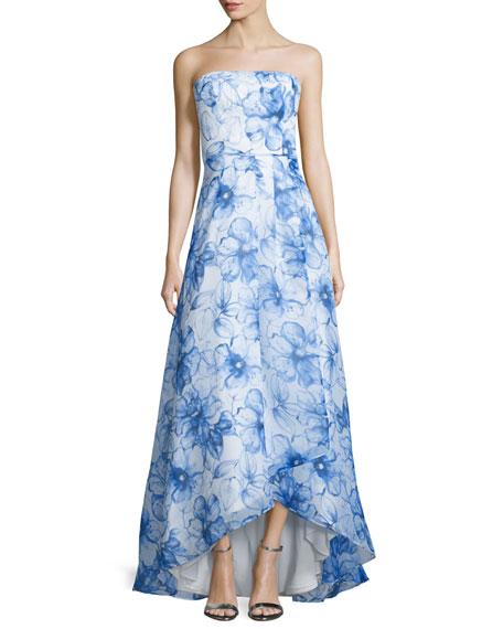 Aidan Mattox Strapless Floral-Print Ball Gown