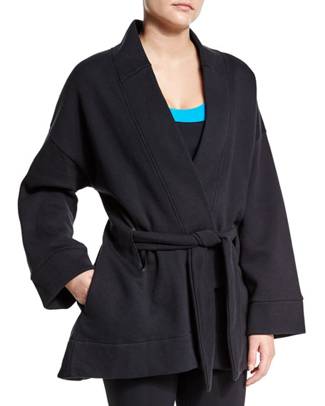 Lucas Hugh Long-Sleeve Belted Kimono Sport Jacket, Black