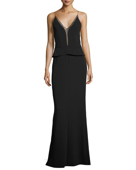Sleeveless Sheer-Trim Peplum Gown, Black