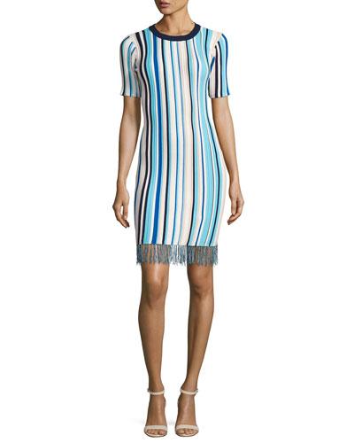 Vertical Striped Short-Sleeve Dress with Fringe