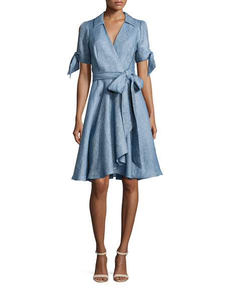 Milly Valerie Linen Chambray Wrap Dress, Blue