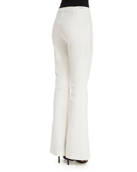 Side-Zip Flare-Leg Pants, White