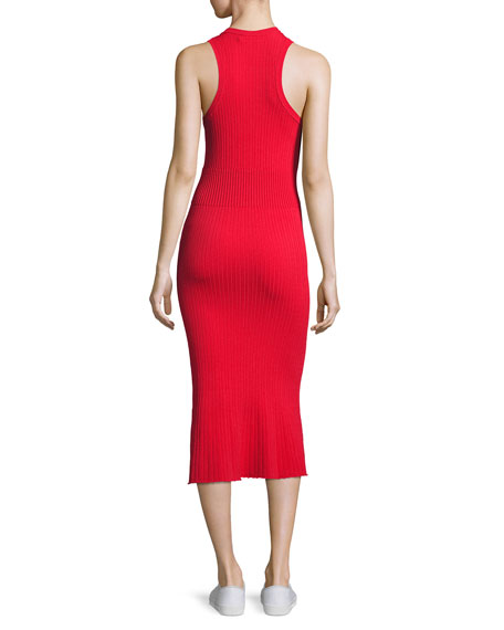 Ribbed Crewneck Midi Dress