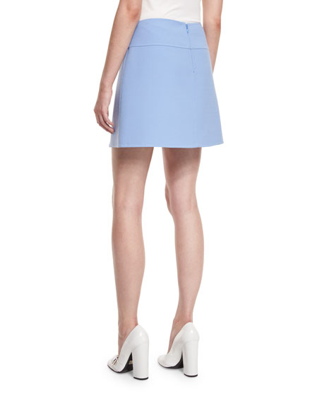 Front-Slit A-Line Mini Skirt, Powder Blue