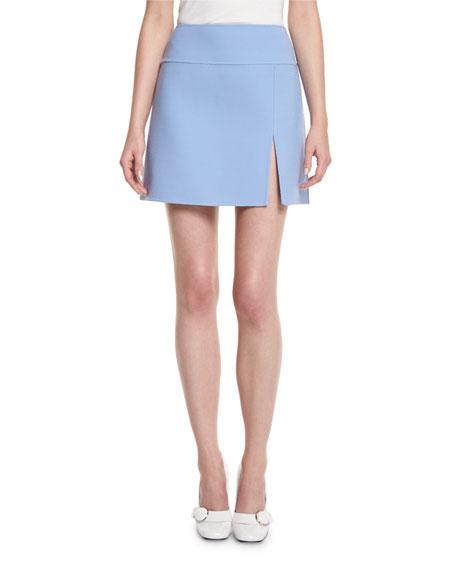Front-Slit A-Line Mini Skirt, Powder Blue
