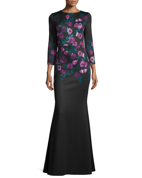 Erin Fetherston 3/4-Sleeve Floral-Print Mermaid Gown