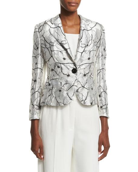 Escada One-Button Floral Jacket, Off White