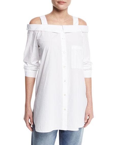 Robert Rodriguez Cold-Shoulder Oversized Shirt Tunic