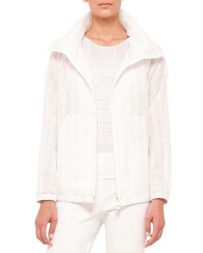 Zip-Front Plaid Short Parka Jacket, Anemone