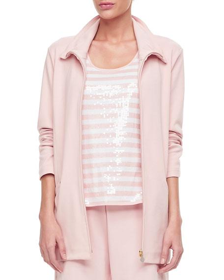 Joan Vass Plus Size Long Sleeve Jog Jacket