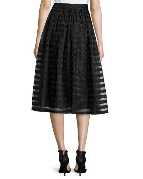 Quinne Striped Organza Midi Skirt