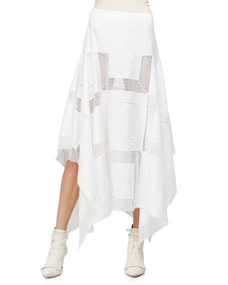 Derek Lam A-Line Lace-Inset Handkerchief Skirt, White