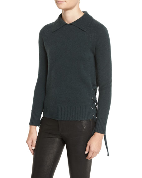 FRAME Side-Tie Cropped Sweater, Spruce