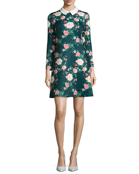Erin Fetherston Mila Collared Floral-Print Cocktail Dress