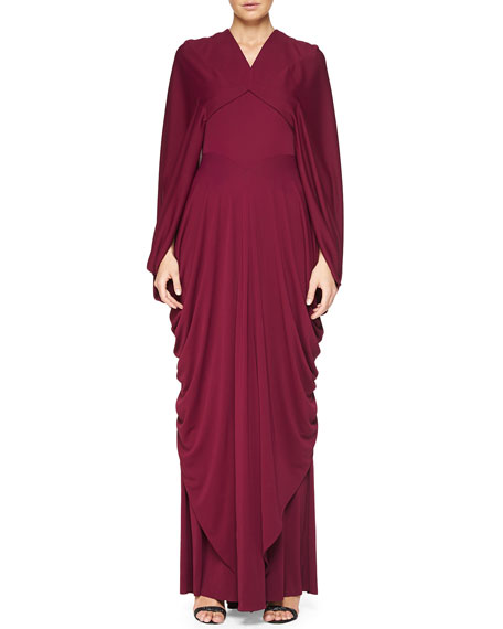 Zac Posen Draped Cape-Sleeve Open-Back Gown