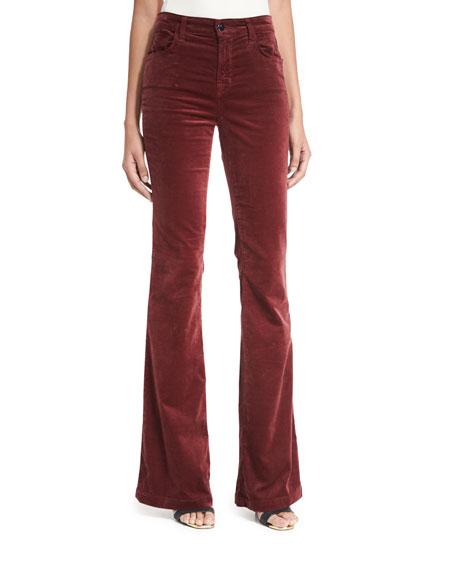 J Brand Maria Flare Velvet Pants, Wine